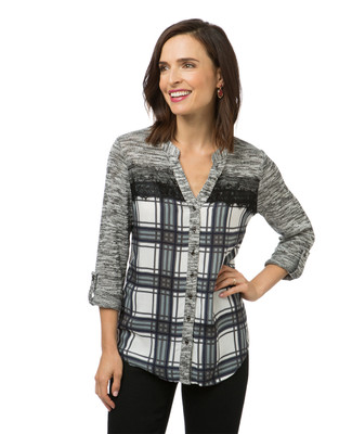 Women's knit plaid top with lace detailing