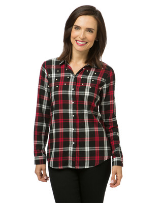 Women's red and black plaid shirt with pearl detailing