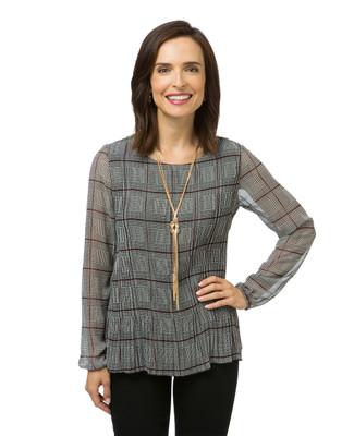 Women's long sleeve pleated top