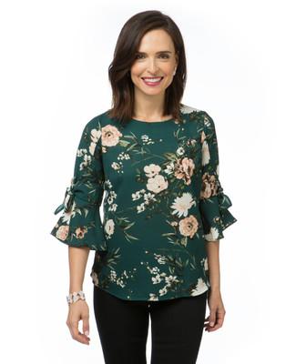 Women's tulip sleeve floral top