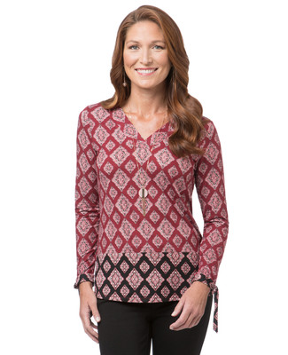 Women's V-neck print top with tie sleeves
