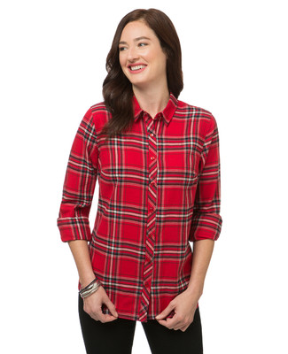 Women's red plaid flannel shirt