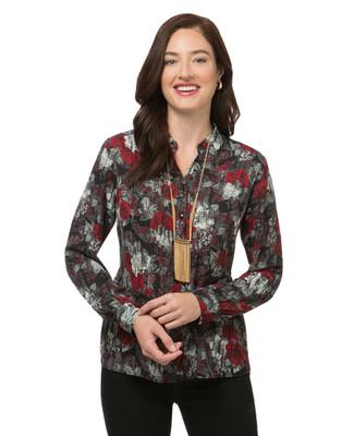 Women's black floral print long sleeve top