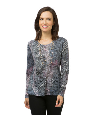 Women's long sleeve print top