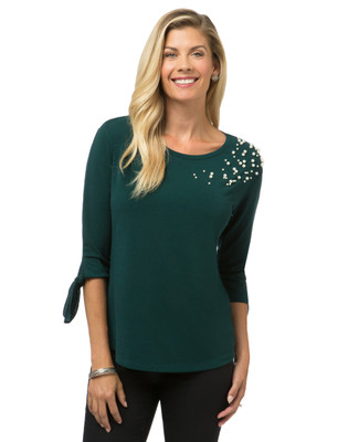 Women's three quarter sleeve embellished knit top