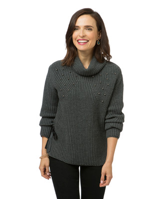 Women's grey cowl neck sweater