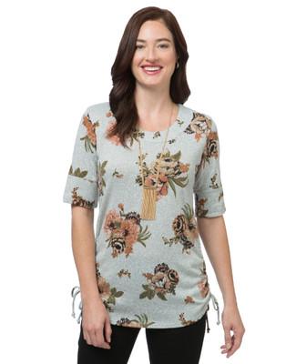 Women's floral print knit top