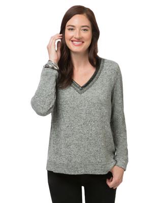 Women's grey V-neck sweater
