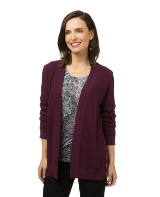 Women's burgundy open front cardigan