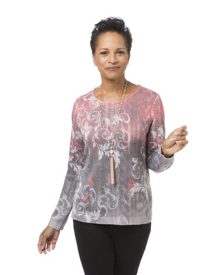 Diamante Long-Sleeve Pullover Sweater