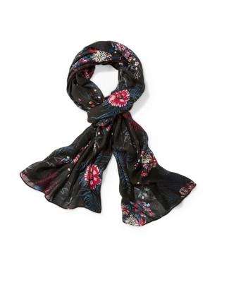 Women's purple floral print scarf