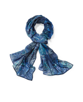 Women's navy blue patchwork scarf