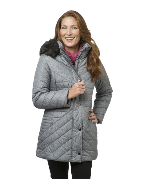 Women's grey quilted winter jacket
