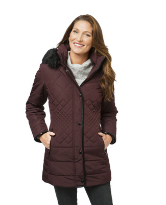 Women's burgundy quilted winter jacket