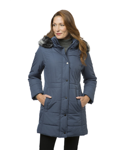 Women's blue quilted winter jacket