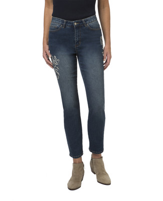 Women's medium wash embellished jeans
