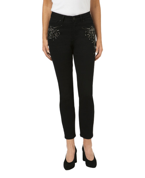 Women's mid-rise embellished jeans