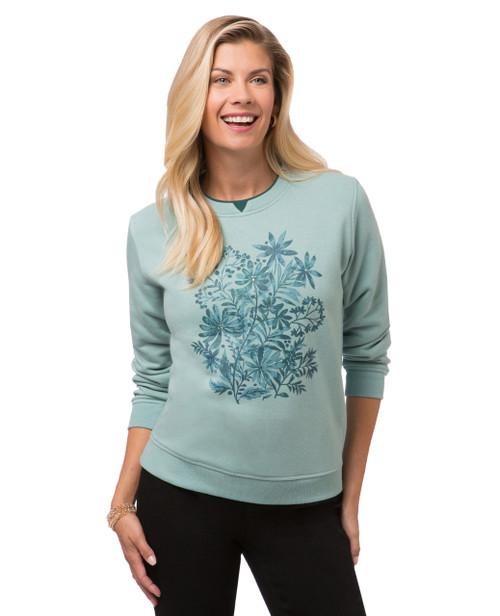Women's petite floral print sweatshirt