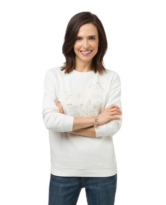 Women's white bird print sweatshirt