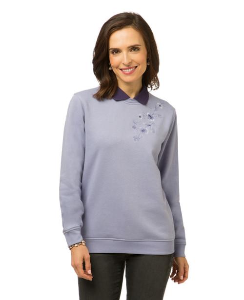 Women's floral print sweatshirt with collar