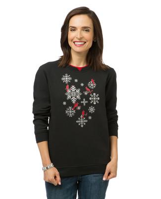 Women's black snowflake print sweatshirt