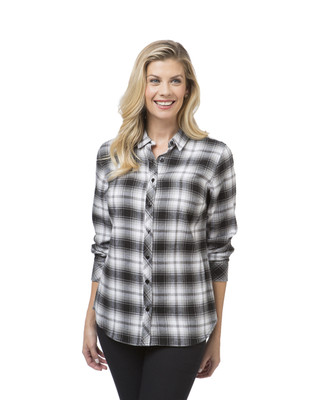 Women's black and white flannel plaid shirt