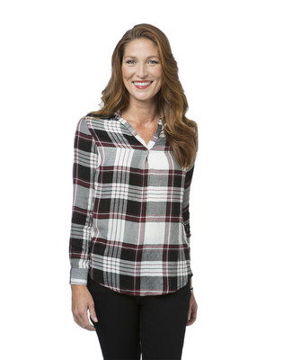 Women's high-low plaid shirt