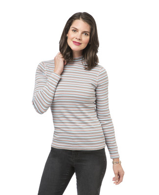 Long Sleeve Stripe Mock Neck Tee
