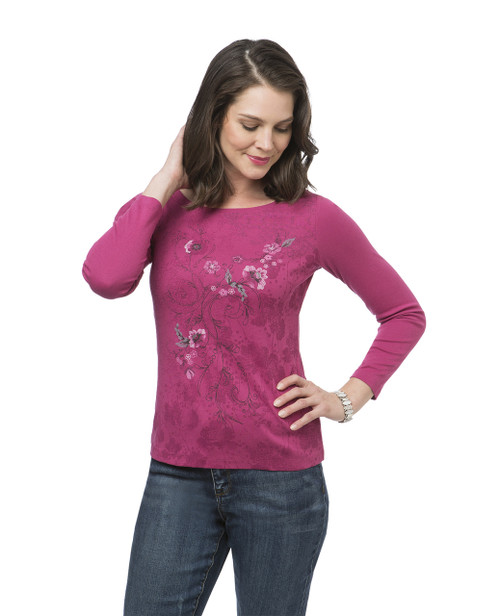 Women's pink petite floral top