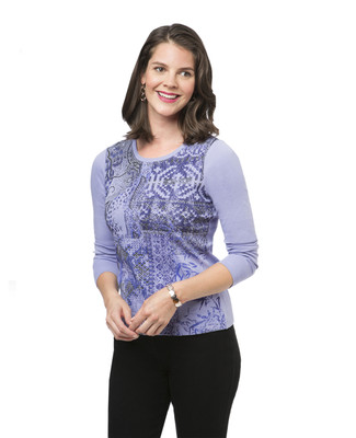 Women's purple petite print top