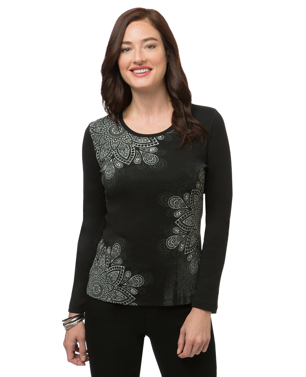 201591b0a Black Long Sleeve Print Top
