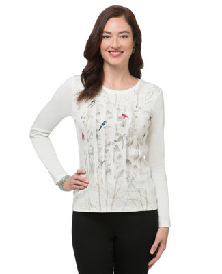Women's long sleeve bird print top