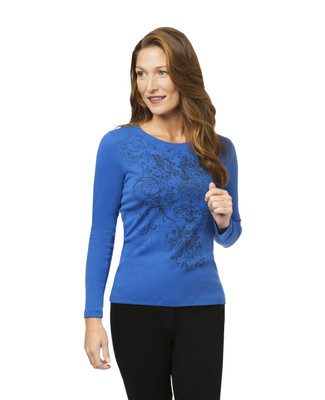 Women's blue print top