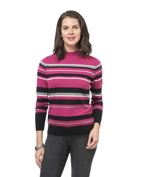 Women's pink striped mock neck sweater