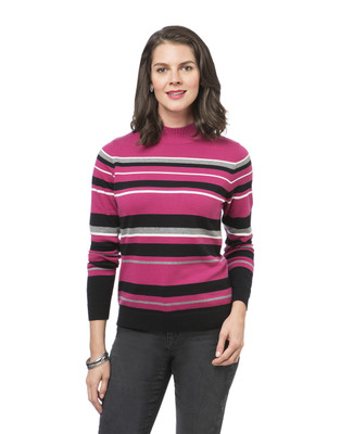 Women's pink striped mock neck sweater
