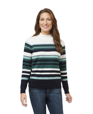 Horizontal Stripe Mock Sweater