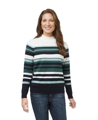 Horizontal Stripe Mock Sweater