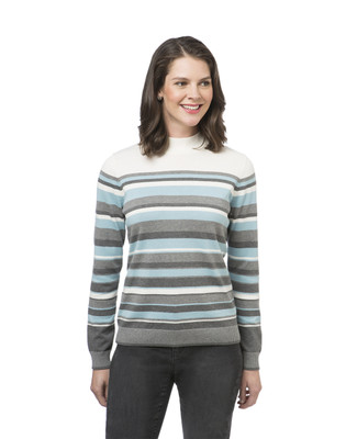Women's striped mock neck sweater