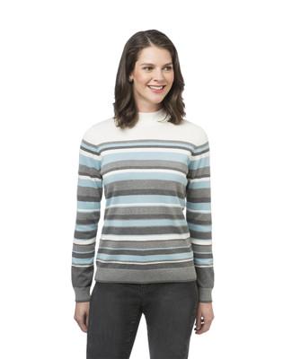 Women's striped mock neck sweater