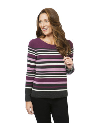 Women's striped boat neck sweater