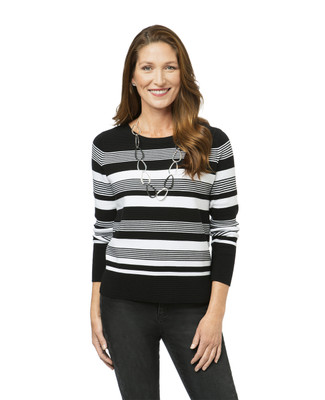 Women's black striped mock neck sweater
