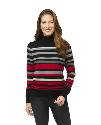 Women's striped turtleneck sweater