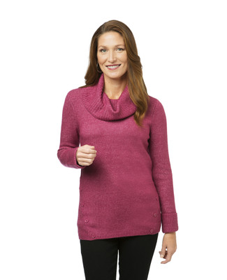 Women's cowl neck tunic sweater