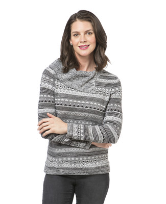 Women's split cowl neck print sweater
