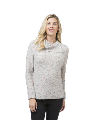 Women's split neck pullover sweater