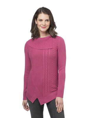 Women's split cowl neck pullover sweater