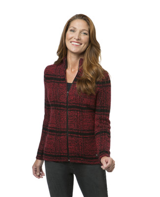 Women's red and black plaid zipper cardigan