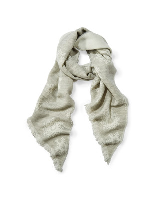 Women's grey snowflake knit scarf