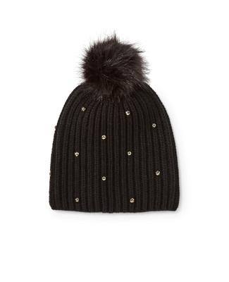 Women's black pom pom knit hat