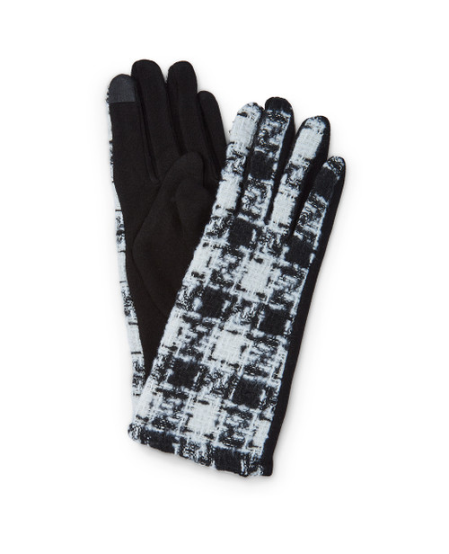 Women's black and white houndstooth winter texting gloves